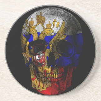 Russian flag skull coaster