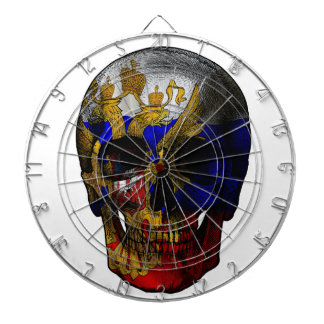 Russian flag skull dartboard