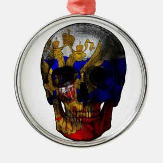 Russian flag skull metal ornament