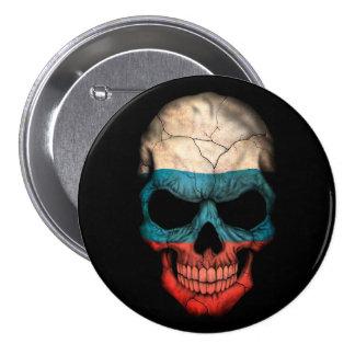 Russian Flag Skull on Black Pins