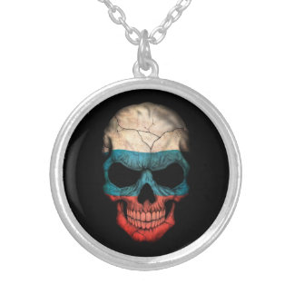 Russian Flag Skull on Black Silver Plated Necklace