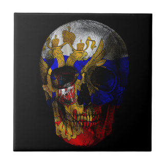 Russian flag skull tile