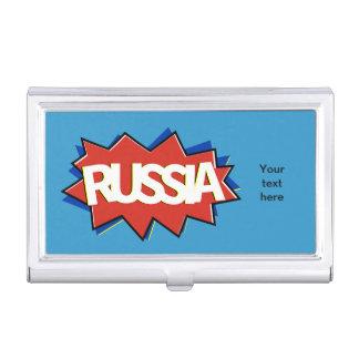 Russian flag star burst business card holders