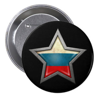 Russian Flag Star on Black Button
