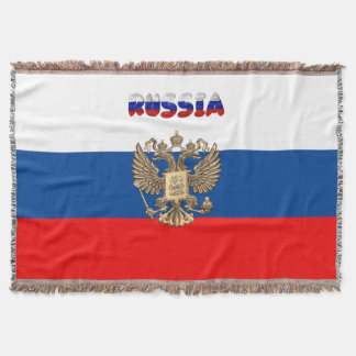 Russian flag throw blanket