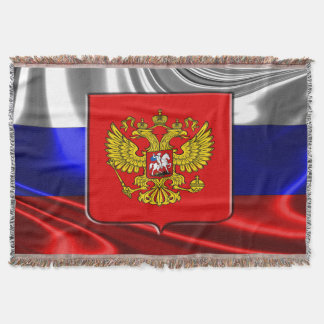 Russian flag throw blanket