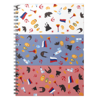Russian Flag with stereotypes of the country Spiral Notebooks