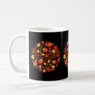 Russian Folk Art Khokhloma Floral Coffee Mug
