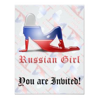 Russian Girl Silhouette Flag 11 Cm X 14 Cm Invitation Card