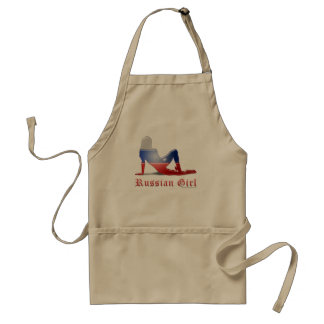 Russian Girl Silhouette Flag Adult Apron