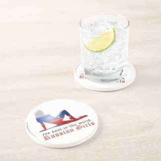 Russian Girl Silhouette Flag Beverage Coasters