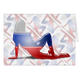 Russian Girl Silhouette Flag Card