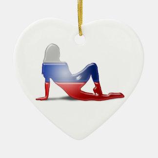 Russian Girl Silhouette Flag Ceramic Heart Decoration