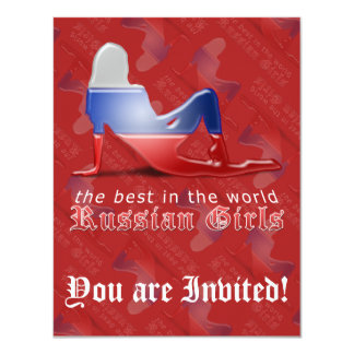 Russian Girl Silhouette Flag Personalized Invites