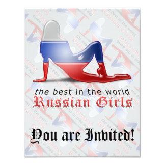 Russian Girl Silhouette Flag Custom Invite