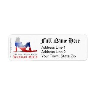Russian Girl Silhouette Flag Return Address Label