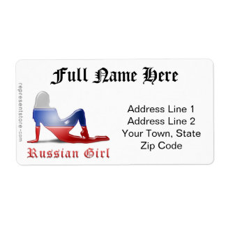 Russian Girl Silhouette Flag Shipping Label