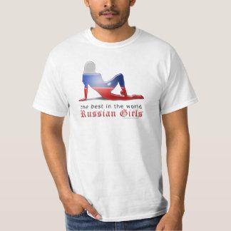 Russian Girl Silhouette Flag T-Shirt