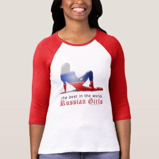 Russian Girl Silhouette Flag Tee Shirts
