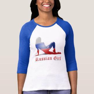 Russian Girl Silhouette Flag T Shirt
