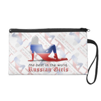 Russian Girl Silhouette Flag Wristlets