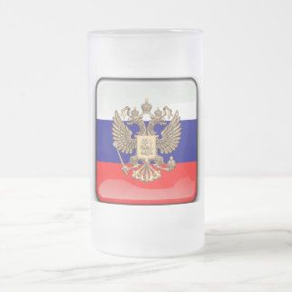 Russian glossy flag frosted glass beer mug