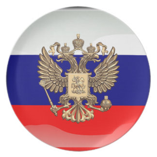 Russian glossy flag party plate