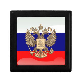 Russian glossy flag small square gift box