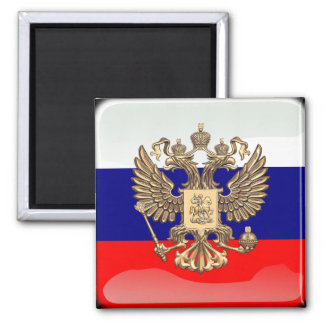Russian glossy flag square magnet