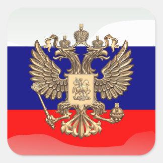 Russian glossy flag square sticker