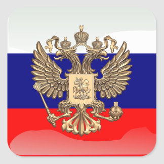 Russian glossy flag square sticker