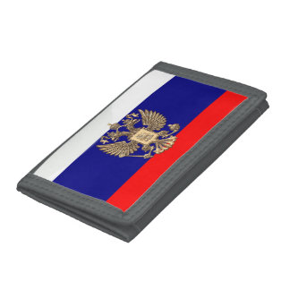 Russian glossy flag trifold wallet