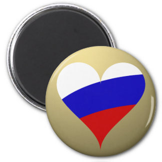 Russian heart 6 cm round magnet