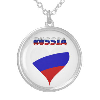 Russian heart flag silver plated necklace
