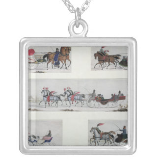 Russian Horse Drawn Sleighs Silver Plated Necklace