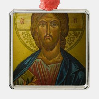 Russian Icon inside Church of St. Sophia / Silver-Colored Square Decoration