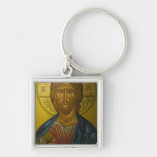 Russian Icon inside Church of St. Sophia / Silver-Colored Square Key Ring