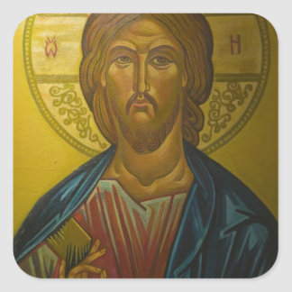 Russian Icon inside Church of St. Sophia / Square Sticker