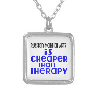 Russian Martial Arts Is Cheaper  Than Therapy Silver Plated Necklace