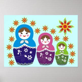 Russian Matryoshka Doll In Sunflowers Posters