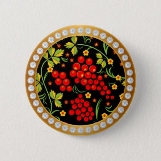 Russian national pattern Hohloma 6 Cm Round Badge