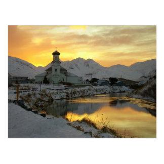 Russian Orthodox Church, winter sunrise Postcard
