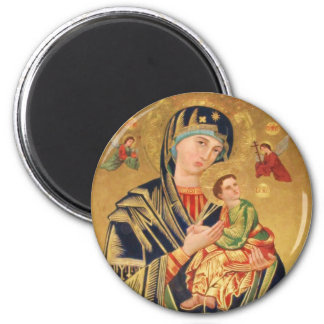 Russian Orthodox Icon - Virgin Mary and baby Jesus 6 Cm Round Magnet