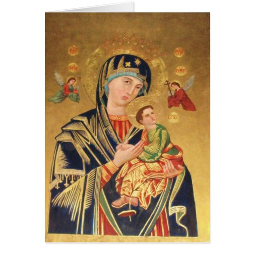 Russian Orthodox Icon - Virgin Mary and baby Jesus Greeting Cards