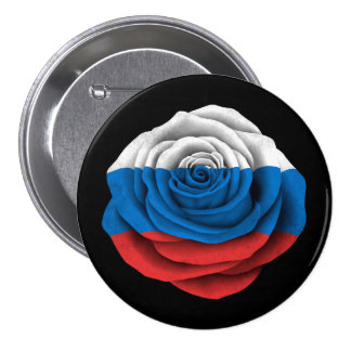 Russian Rose Flag on Black Buttons