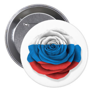 Russian Rose Flag on White Pinback Buttons