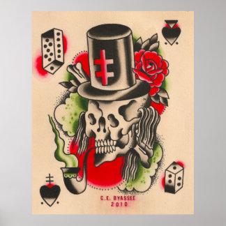 Russian Smoking Skull Print