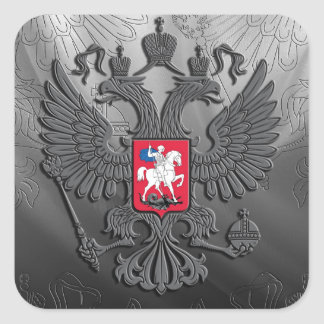 Russian symbol flag grey square sticker