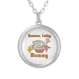 Russian Tabby Cat Mom Silver Plated Necklace