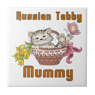 Russian Tabby Cat Mom Small Square Tile